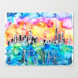New York / watercolor mixed media bright city skyline modern skyscraper Canvas Print