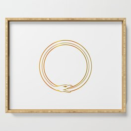 The symbol of Ouroboros snake in gold colors Serving Tray