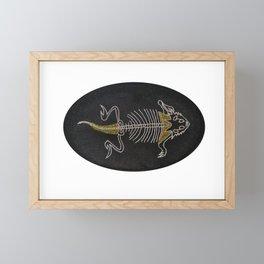 Embroidered horned lizard Framed Mini Art Print