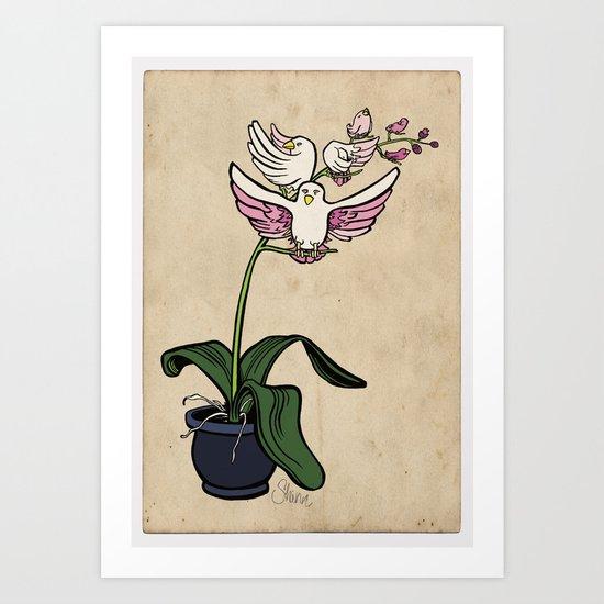 THE RARE SONGBIRD ORCHID Art Print