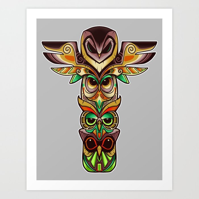 Owl Totem Art Print By Angoes25 Society6