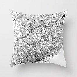 Toronto White Map Throw Pillow