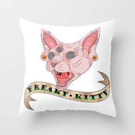Freaky Kitty Throw Pillow