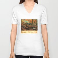 dachshund V-neck T-shirts featuring Dachshund by Jeff Crosby