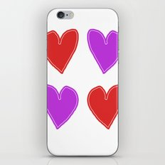 Red and Purple Hearts - 4 hearts iPhone & iPod Skin