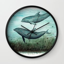 """Two Inshore Dolphins"" by Amber Marine ~ Watercolor Painting, (Copyright 2015) Wall Clock"