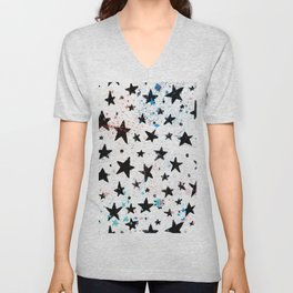 Hand painted black pink teal aqua watercolor galaxy stars Unisex V-Neck