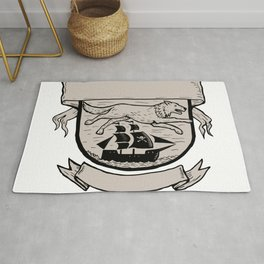Wolf Running Over Pirate Ship Crest Scratchboard Rug