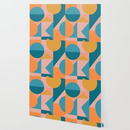 Colorful Geometric Abstraction in Blue and Orange Wallpaper