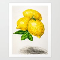 lemon Art Prints featuring Lemon by Peiting Tsai