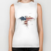 american flag Biker Tanks featuring AMERICAN FLAG by Oksana Smith