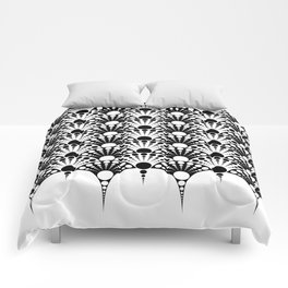 black and white art deco inspired fan pattern Comforters