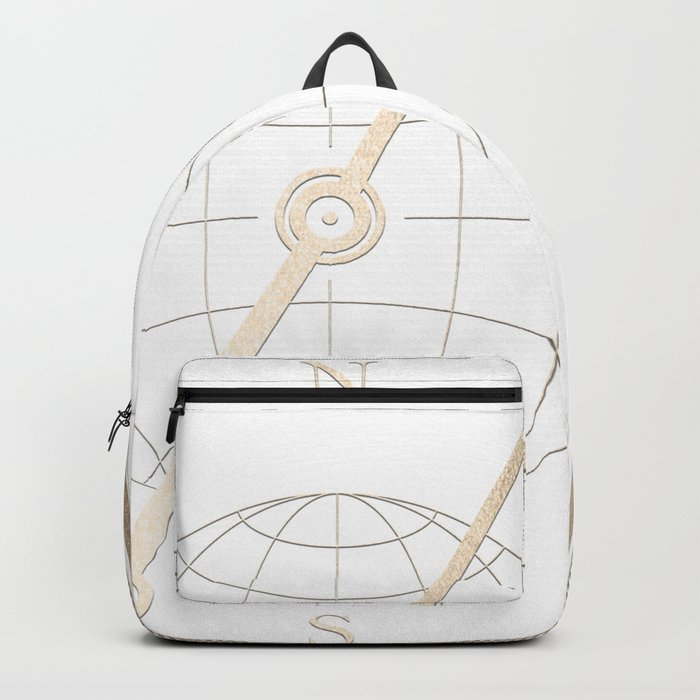 Gold Compass on White Backpack