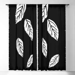 Abstract black leaves Blackout Curtain