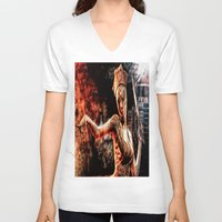 silent hill V-neck T-shirts featuring Death By Medicine Silent Hill Nurses by Joe Misrasi