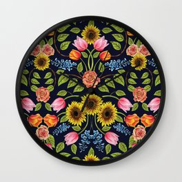 Dark Floral Print - Sunflowers, Tulips, Roses & Delphinium Wall Clock