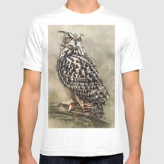 Eagle Owl White Mens Fitted Tee MEDIUM