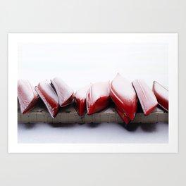 Snowfall on Red Canoes in Jasper National Park Art Print