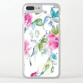 Blue Bird in Spring Clear iPhone Case
