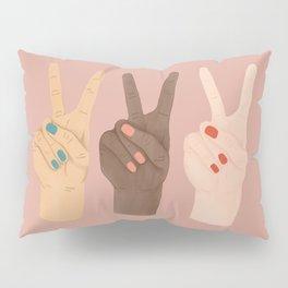 Peace Hands Pink Pillow Sham