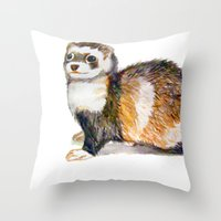 ferret Throw Pillows featuring Ferret by Tesseract