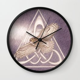 Nuit, the great-horned owl on white Wall Clock