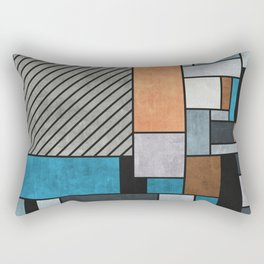 Random Concrete Pattern - Blue, Grey, Brown Rectangular Pillow