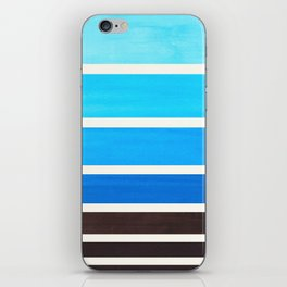 Cerulean Blue Minimalist Mid Century Modern Color Fields Ombre Watercolor Staggered Squares iPhone Skin