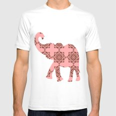 Floral Brown and Pink Elephant MEDIUM White Mens Fitted Tee