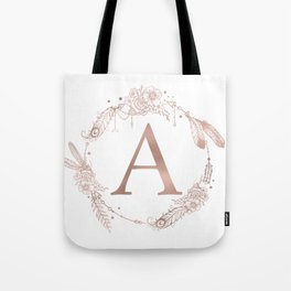 Letter A Rose Gold Pink Initial Monogram Tote Bag