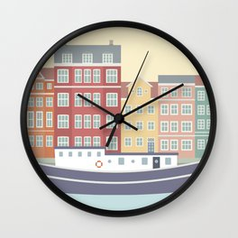 Nyhavn Illustration, Copenhagen, Denmark Wall Clock