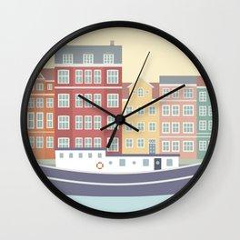 Nyhavn Illustration, Copenhagen, Denmark Wall Clock