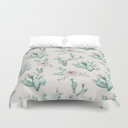 Pretty Cactus Rose Pattern Pale Pink + Green Duvet Cover