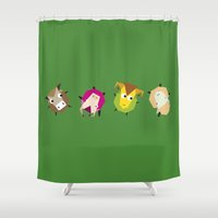 farm Shower Curtains featuring Rolling farm by Fairytale ink