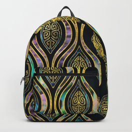 Gold Tribal Owl on Boho Abalone Pattern Backpack