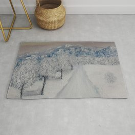 Winter Path, Original Contemporary Oil Painting, Modern Art, Fine Art by Lu aka Luna Smith Rug