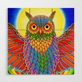 Colorful Rainbow Owl Wood Wall Art