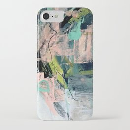 Connect [4] : a vibrant acrylic abstract in neon green, blues, pinks, & hints of orange iPhone Case