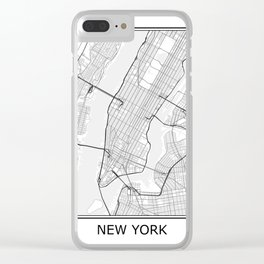 New York City Map Black and White Clear iPhone Case