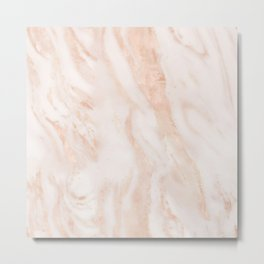 Rose-gold faux marble Metal Print