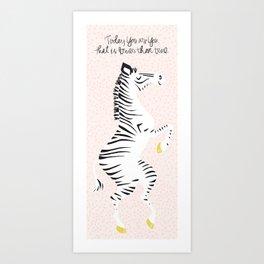 Pink Zebra (Dr. Seuss quote) Left Art Print
