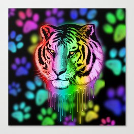Tiger Neon Dripping Rainbow Colors Canvas Print