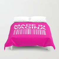 vagina Duvet Covers featuring MADE IN VAGINA BABY FUNNY BARCODE (Baby Girl Pink) by CreativeAngel
