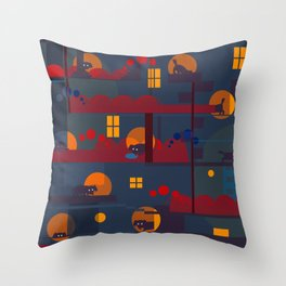 black dog's adventure Throw Pillow