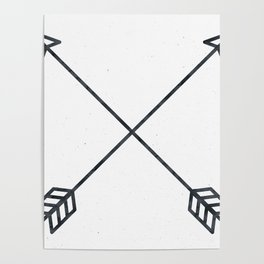 Black Arrows on White Paper Poster