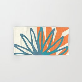 Mid Century Nature Print / Teal and Orange Hand & Bath Towel