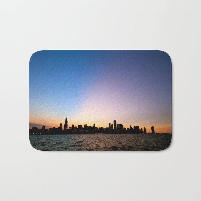 Chicago Skyline Silhouette Bath Mat