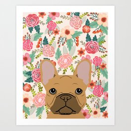 French Bulldog florals portrait dog breed custom pet portraits by pet friendly frenchie Art Print