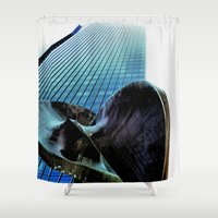 millenium falcon Shower Curtains featuring Masterpiece Millenium by Julie Maxwell