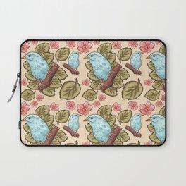 Vintage brown pink teal cute birds botanical floral Laptop Sleeve